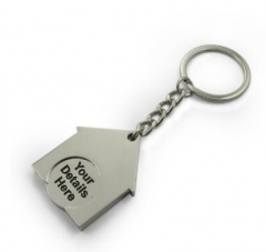Enamelled House Shopping Coin Key Rings