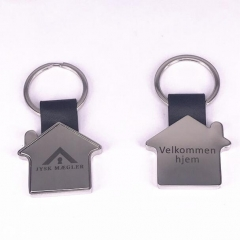 Engraved Metal and Leather House Keychain