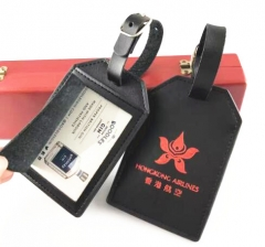 Custom Logo Printed Black Genuine Leather Travel Tags for Airlines