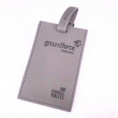 Promotional Grey Faux Leather Baggage Tag