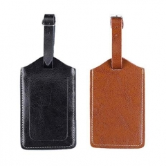 Small Size Black Brown Real Leather Travel Accessory Luggage Tags