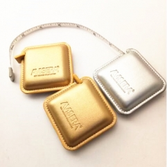 Custom Made Gold and Silver Leather Mini Square Tape Measures