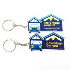 Custom Made 2D House Shaped Rubber Keychains