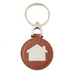 Promotional House Shape Leather Metal Key Holders