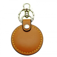 Cheap Promotional Blank Brown Faux Leather Key Ring in Bulk