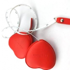 Custom Red Heart Shaped Mini Retractable Tape Measures
