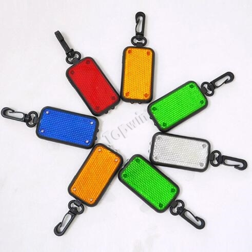 Rectangle LED Flashing Reflective Light Key Chains for Outdoor Camping