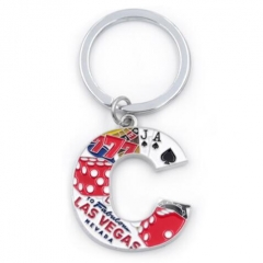 Customized Alphabet Design Enamel Souvenir Key Chains Wholesale