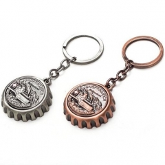 Antique Silver Copper 3D Beer Cap Shaped Bottle Opener Key Ring Pendant