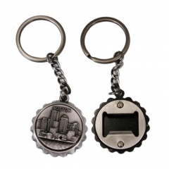 Custom Made 3D Pewter Bottle Open Cap Souvenir Key Chain