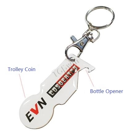 Custom Logo Printed Bottle Opener Trolley Coin Key Chains